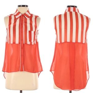Timing Stripe Sleeveless Hi Low Vent Collared Top